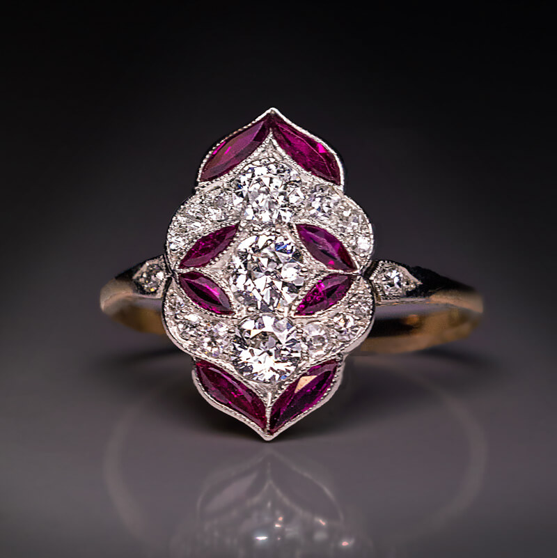 Antique Early Art Deco Diamond Ruby Engagement Ring