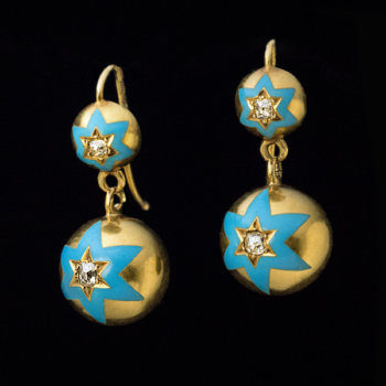 antique gold enamel diamond earrings