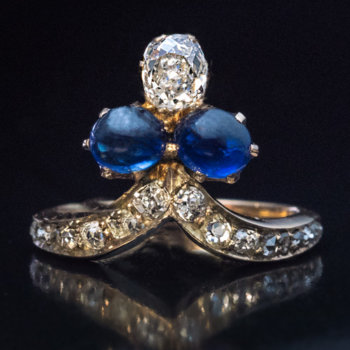 antique Victorian cabochon sapphire and diamond ring