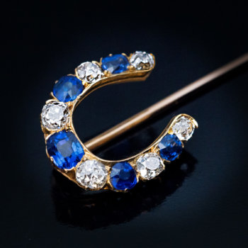 antique sapphire and diamond horseshoe shaped stickpin
