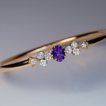 antique bangle bracelets - amethyst diamond gold bracelet