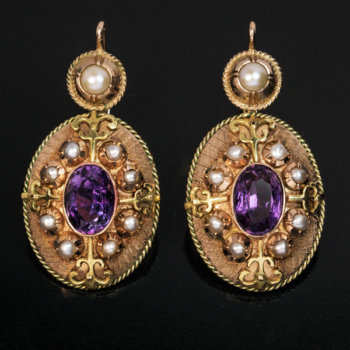 Victorian antique amethyst pearl gold earrings