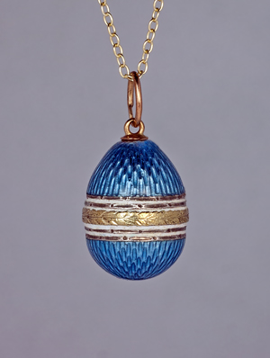 Miniature Enamel Egg Pendant Attributed To Faberge