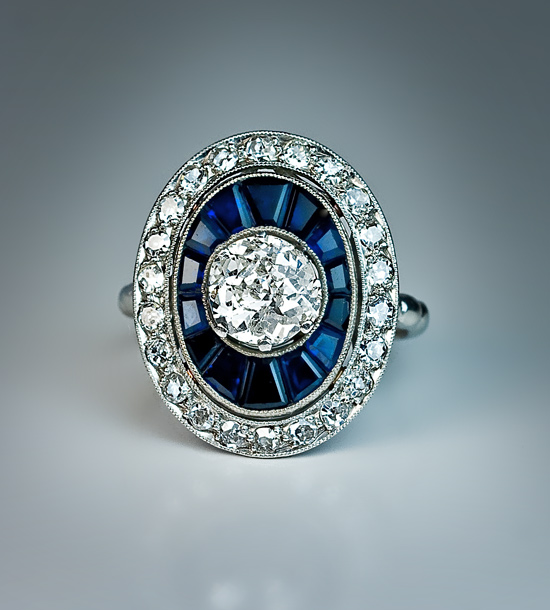 blue diamond wedding ring deco sapphire engagement ring antique 1925