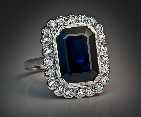 Vintage Engagement Rings French Platinum Ring 1920s