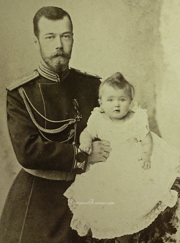 Tsar Nicholas Ii And Newborn Olga 1896 Photograph