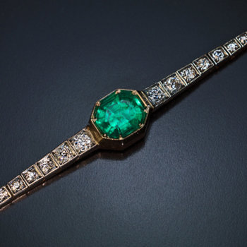 antique Colombian emerald and diamond bracelet