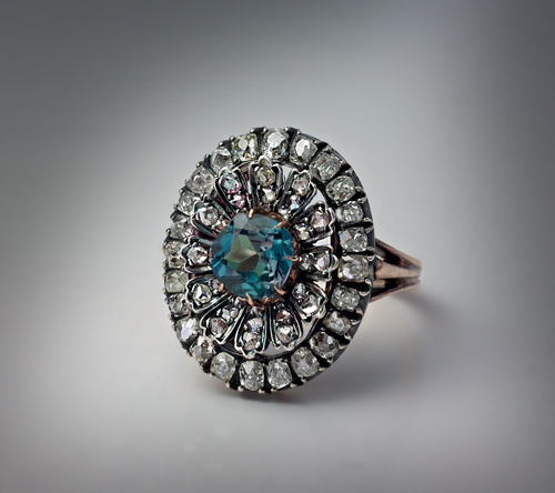 Rare Russian Alexandrite Diamond Antique Ring C 1890