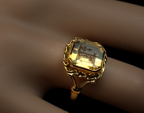 Citrine Intaglio Ring 1820s Georgian Intaglio Rings