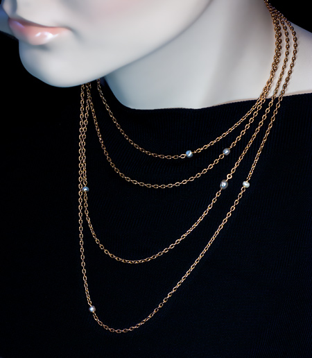 06e695f6ddd Antique 72 in. Long Gold Chain Necklace with Pearls - Antique ...