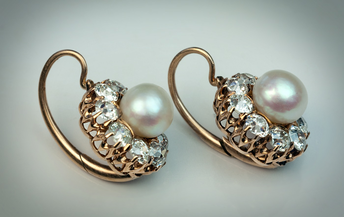 Antique Victorian Pearl And Diamond Cluster Earrings