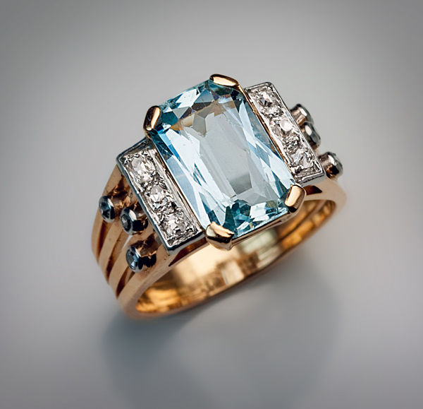 Art Deco Rings Vintage Aquamarine And Diamond Ring