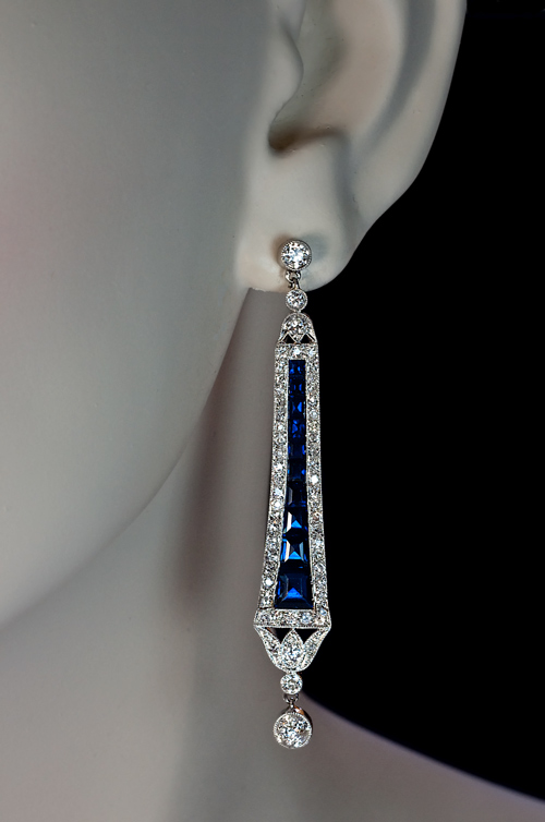 Art Deco 1920s Vintage Sapphire Diamond Dangle Earrings