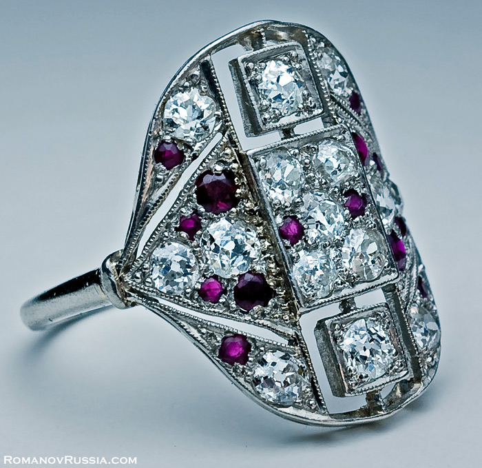 Art Deco Rings Platinum Diamond Ruby Art Deco Ring