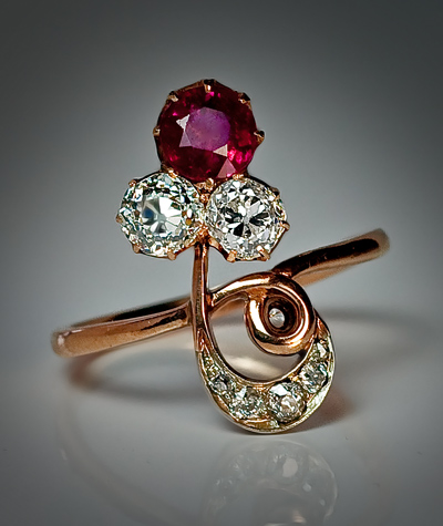 Ruby And Diamond Flower Ring Antique Jewelry Vintage