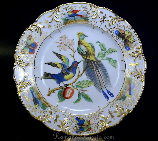 Russian Porcelain Ornithological Plate Imperial Factory