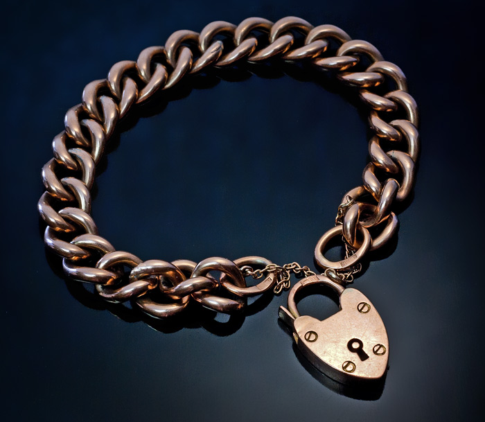 Antique Gold Curb Chain Bracelet With Heart Padlock Charm