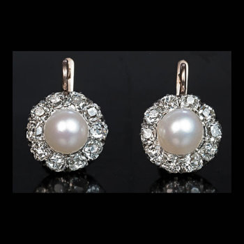 antique pearl diamond earrings