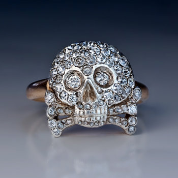 antique diamond skull and crossbones ring