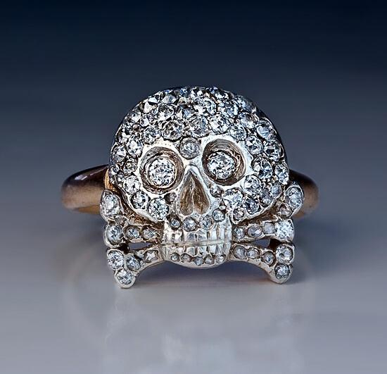 Antique Russian Diamond Skull Crossbones Ring Antique Jewelry Vintage Rings Faberge Eggs