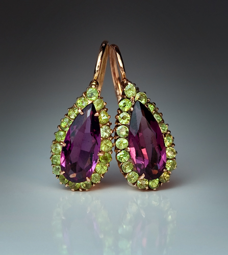 Antique Almandine And Demantoid Garnet Gold Earrings