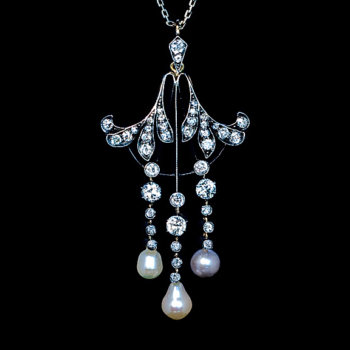 Art Nouveau antique diamond pearl necklace