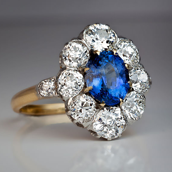 Sapphire Diamond Antique Engagement Ring C 1910 Antique Jewelry Vintage Rings