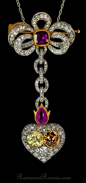 Faberge Fancy Color Diamonds Antique Pendant Brooch