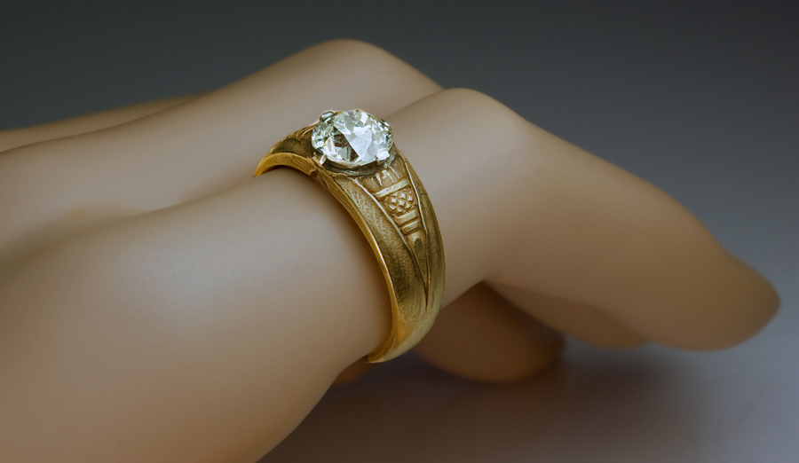 Vintage 1 90 Ct Solitaire Diamond Gold Gents Ring Antique