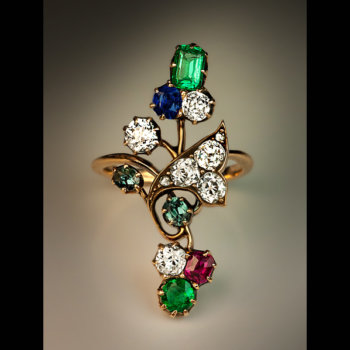 Art Nouveau gemstone flower ring set with emerald ruby sapphire alexandrite and diamond