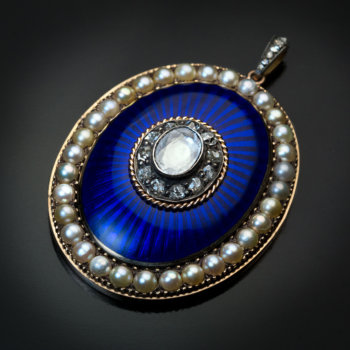 antique blue enamel diamond pearl and gold pendant - Georgian era jewelry