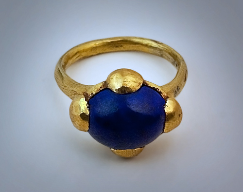 Medieval Byzantine Gold Ring Set with Lapis - Antique
