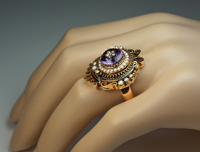 Victorian Rings Antique Amethyst Pearl Enamel Gold Ring