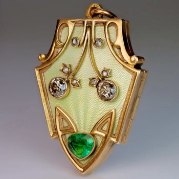 Art Nouveau Jewelry - antique gold, guilloche enamel, emerald, diamond locket pendant
