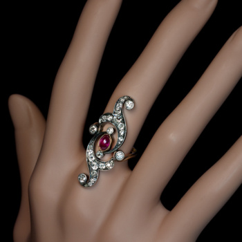 Belle Epoque antique ruby diamond long ring