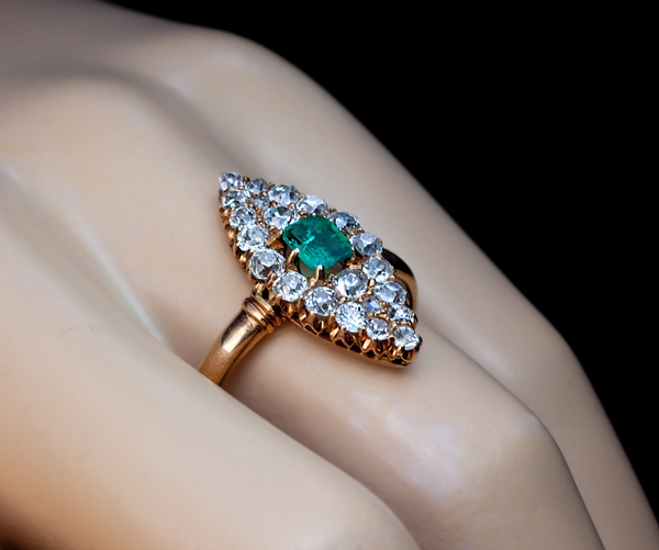 Antique Emerald Diamond Marquise Shaped Ring Antique Jewelry Vintage Rings Faberge Eggs