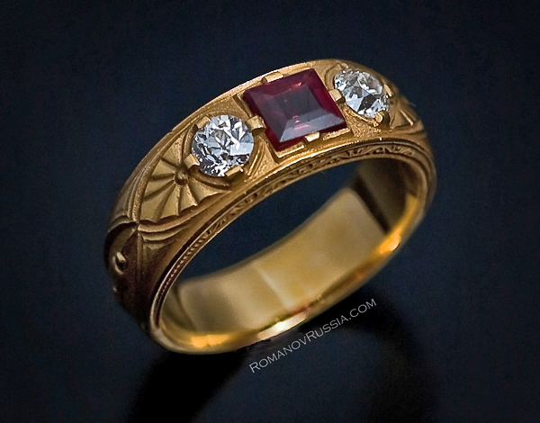 Antique Russian Gold Diamond And Spinel Men S Ring