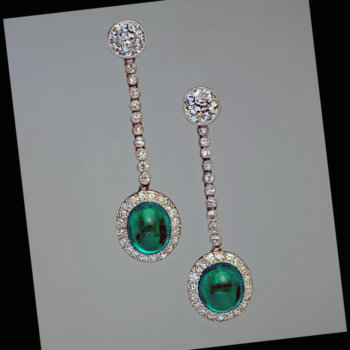 Art Deco vintage cabochon emerald and diamond earrings