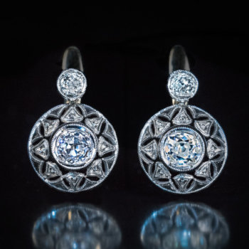 antique early Art Deco diamond platinum gold earrings