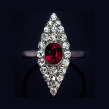 antique ruby and diamond marquise shaped ring