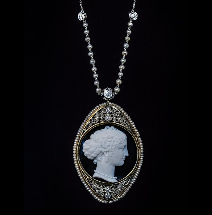 Antique Onyx Cameo Diamond Pearl Necklace Antique