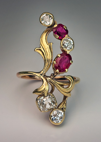 Art Nouveau Jewelry Antique Diamond Ruby Rings Antique