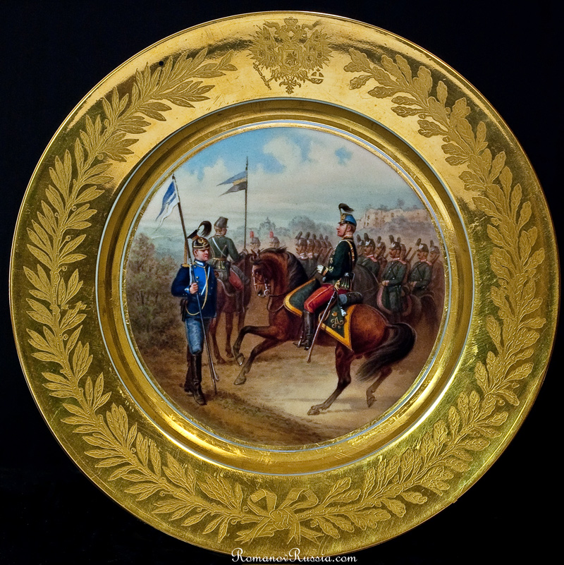 Antique Russian Imperial Porcelain 1882 Military Plate