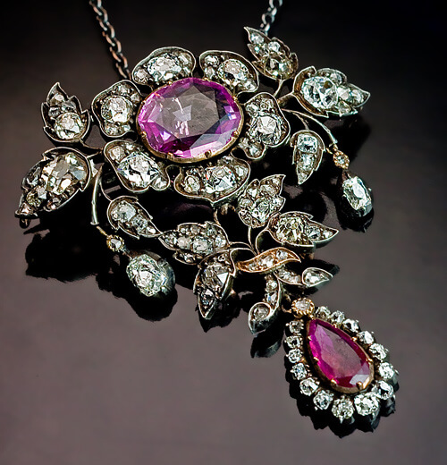 19th Century Diamond Ruby Sapphire Pendant Necklace