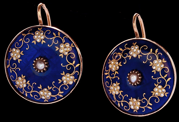 Victorian Jewelry Earrings Antique Guilloche Enamel Gold