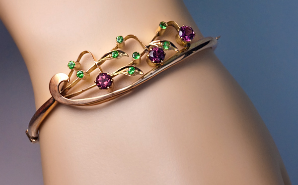 Art Nouveau Jewelry Vintage Garnet Gold Bangle Bracelet