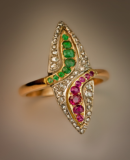 Antique Emerald Ruby Diamond Gold Snake Ring Antique