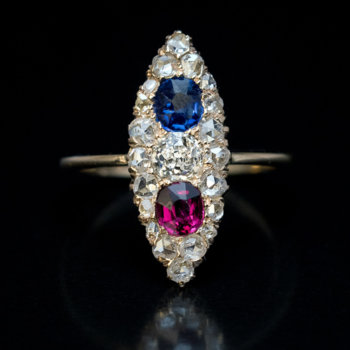 Victorian antique sapphire diamond ruby ring