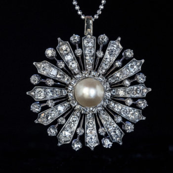 19 century jewelry - antique natural pearl and diamond pendant brooch