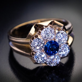 antique sapphire and diamond 19th century